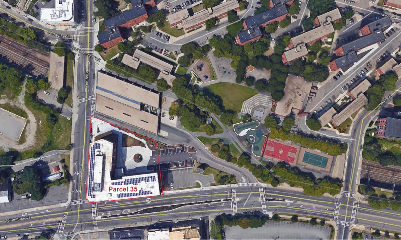 Aerial of Jackson Square Station, Parcel 35