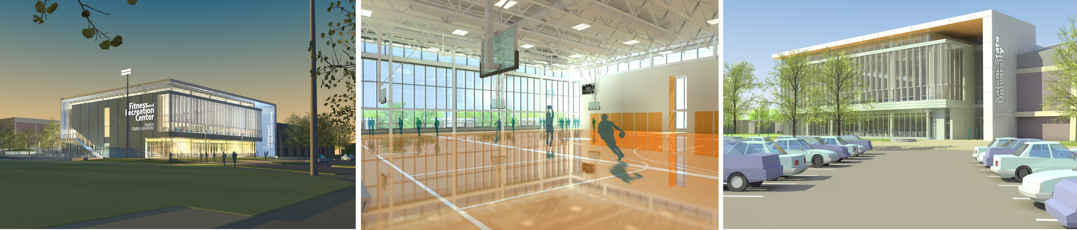 Various rendering studies of Salem State University Fitness Center