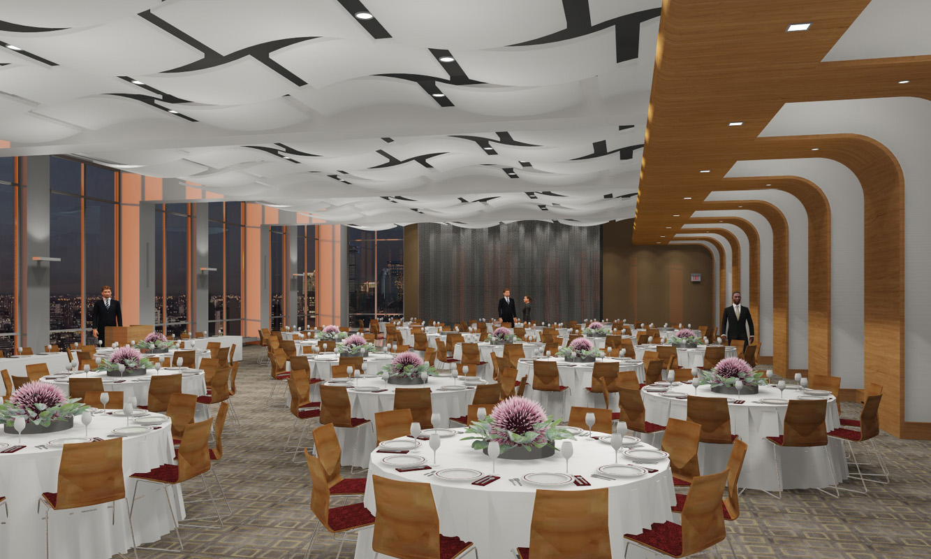 Interior rendering, East Village Residence Hall, Northeastern University