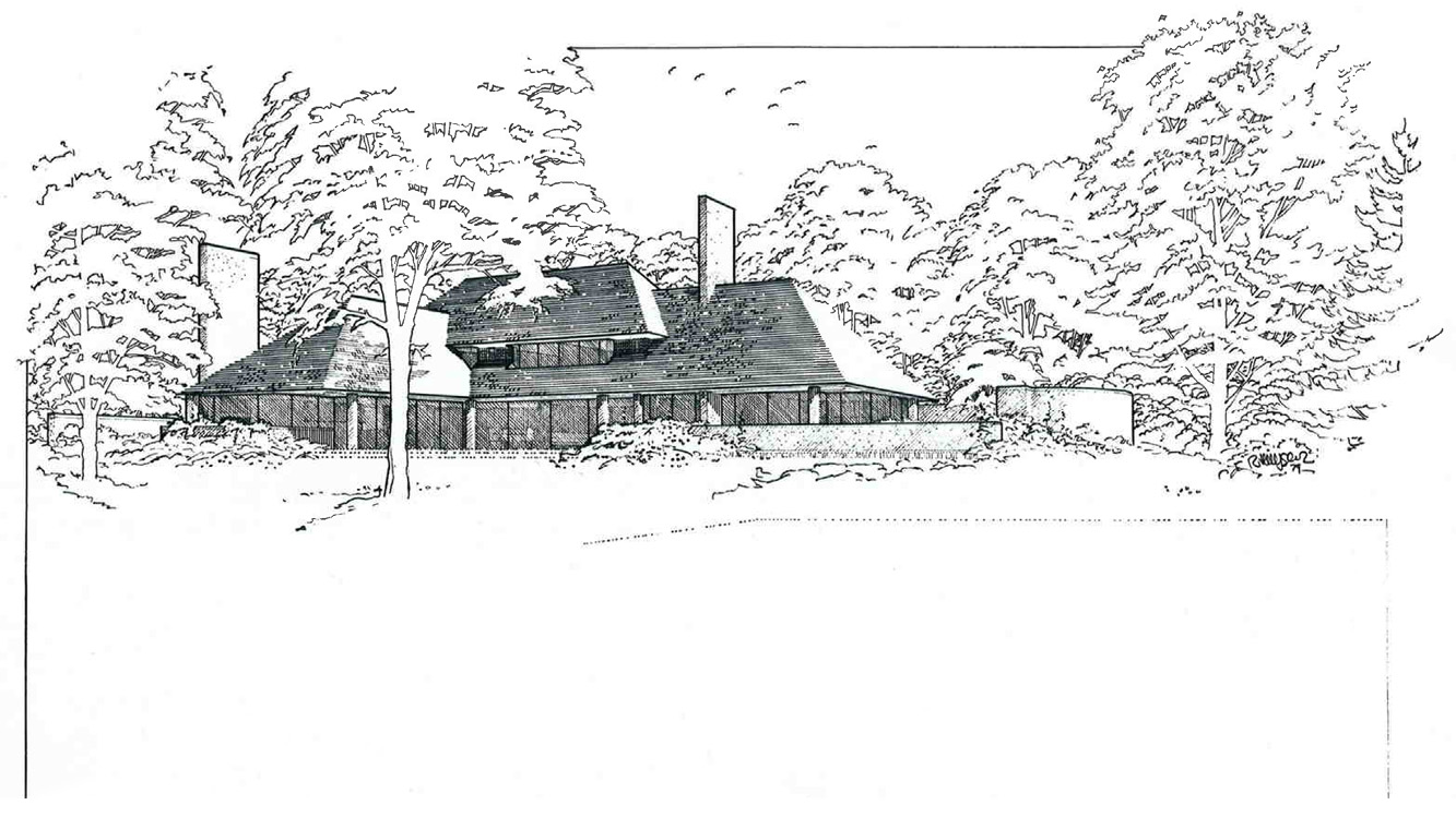 Rem Huygens' drawing for the Tregurtha House, Darien, CT (Blog post week 13: The White Houses) using F.L. Wright techniques to emphasize building's connection to the landscape