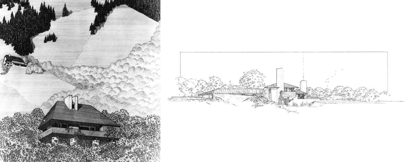 Density of line work on an early rendering (Huygens Chalet) and minimal lines on a later rendering (DiPietri House) exhibited a confidence of the designer.