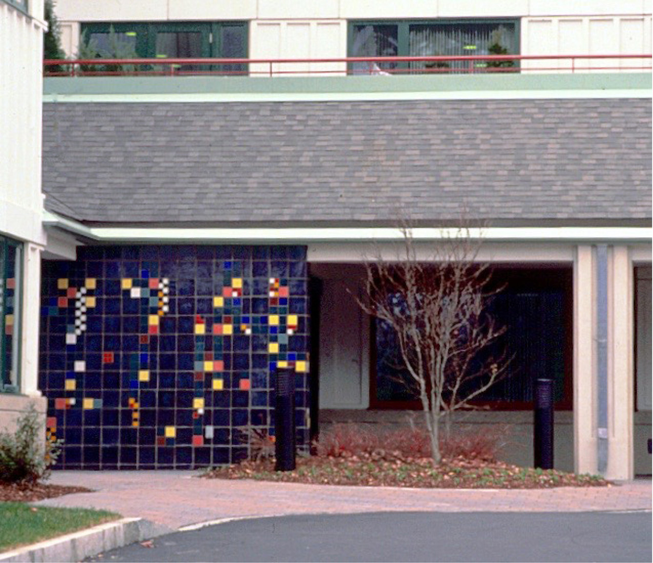 This is the exterior side of the tile mural shown above.