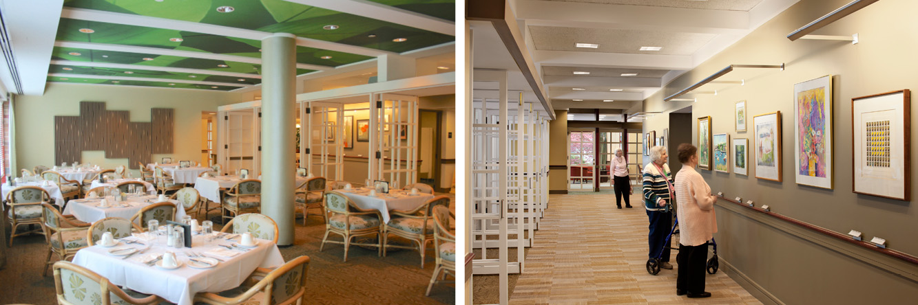 Left:  Updated Garden Dining	  Right: Corridor gallery with Garden Dining on the left and Library at the end