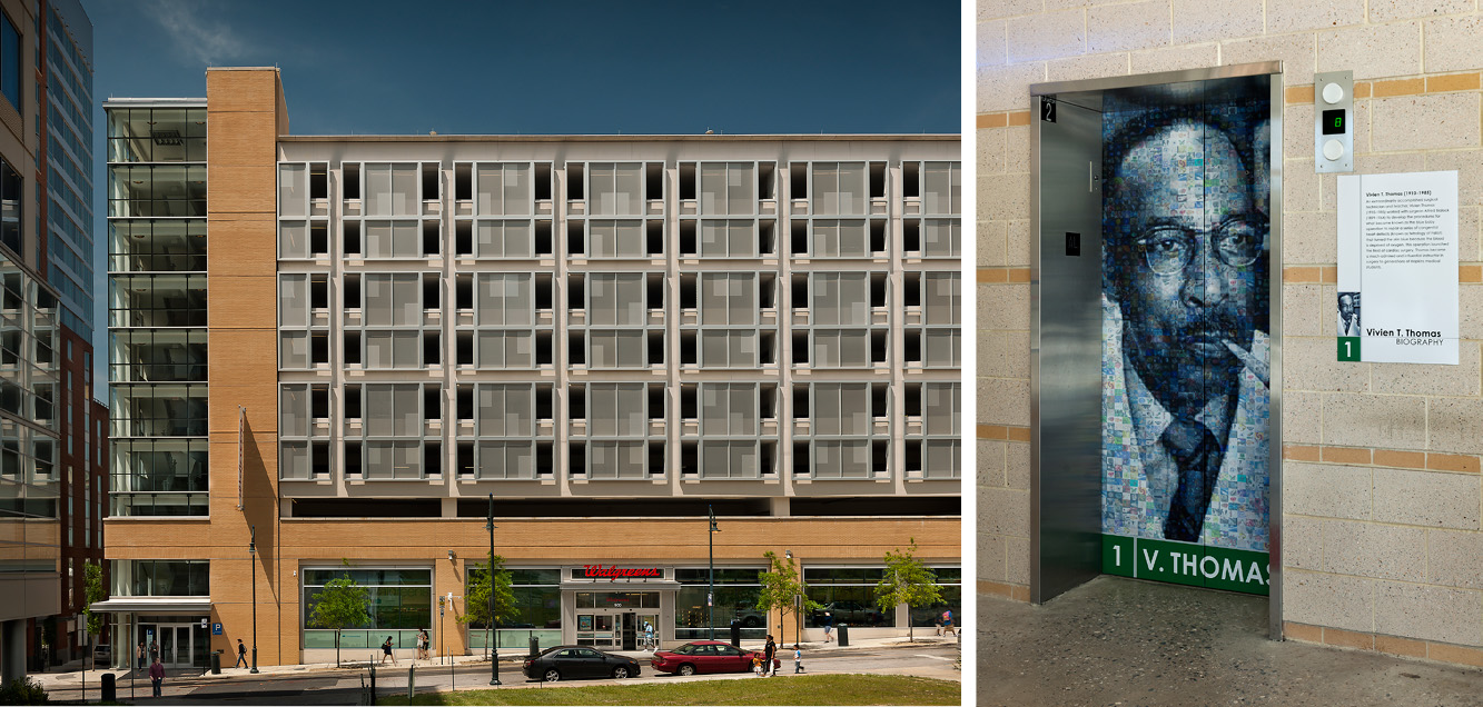 Left: Walgreens is a great new neighborhood retail amenity Right: Floors are identified by famous Hopkins researchers