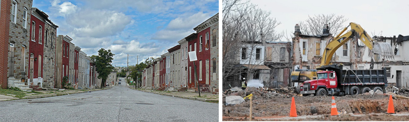 Left: Looking up North Wolfe Street towards Johns Hopkins Right: Demolition underway
