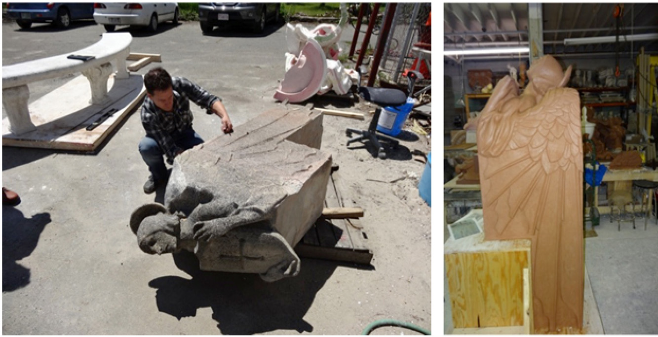 Left: Weathered original piece being measured at Skylight Studios Right: Resculpted piece ready for casting mold