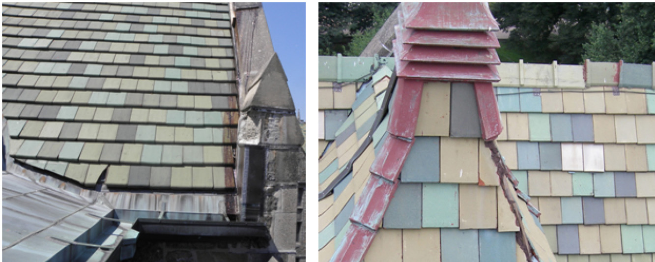 Left: Original roof tiles and cast stone deterioriation Right: Roof with wood single repair center right