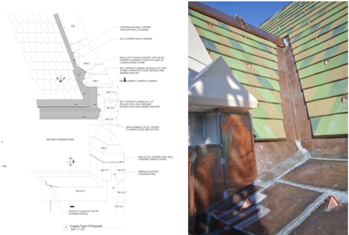 Left: Coping detail, McGinley Kaslow & Associates Right: Restored roof and flashings