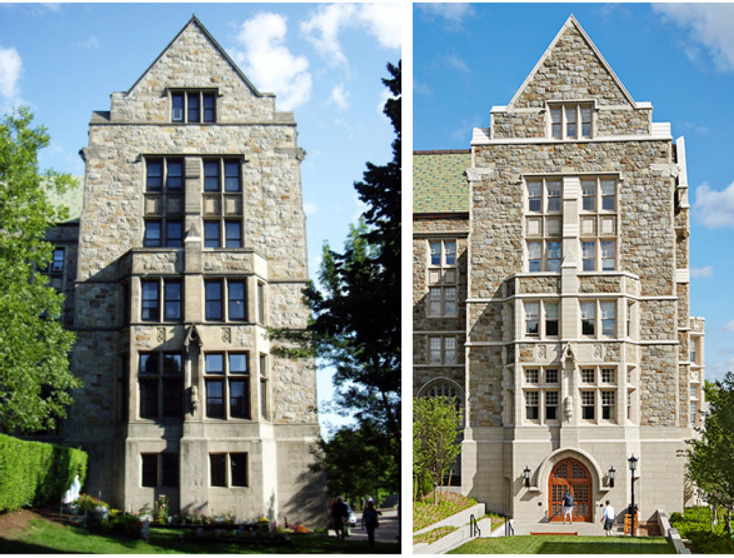 Left: South façade which was relocated in 1930 Right: New entrance added to the academic departments (Photography by Robert Benson)