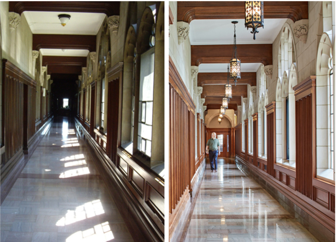 Left: Corridor before Right: Corridor after (Photography by Robert Benson)