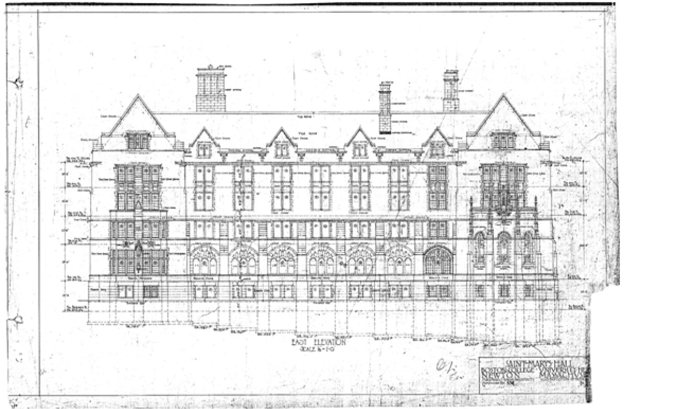 Original elevation drawing, with the chapel on the right