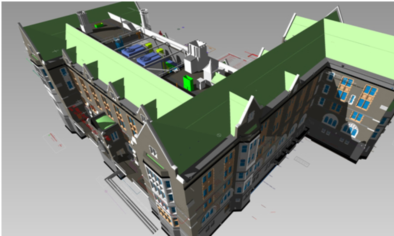 BIM model created by the design team and used for construction coordination showing new mechanicals hidden in the roof