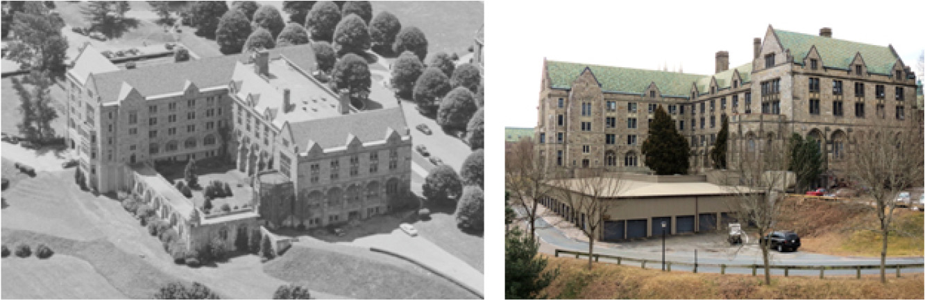 The wing at the top left, cloister and courtyard were added in the 1930s. The metal-faced garage was added in the 1980s.