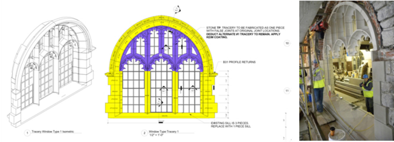 Window tracery drawings that show a reduced number of castings, and an installed piece at right Drawings courtesy of McGinley Kalsow & Associates