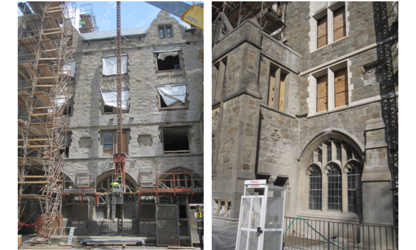 Façade with trim removed for recasting Working from the top down and the differences in color of old and new cast stone