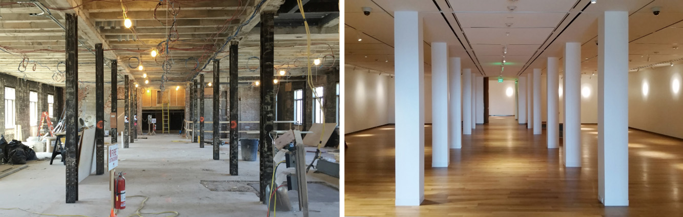 Left: Gallery during demolition Right: Gallery nearing completion